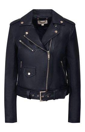 Кожаная куртка с поясом и косой молнией MICHAEL Michael Kors синяя   Фото №1