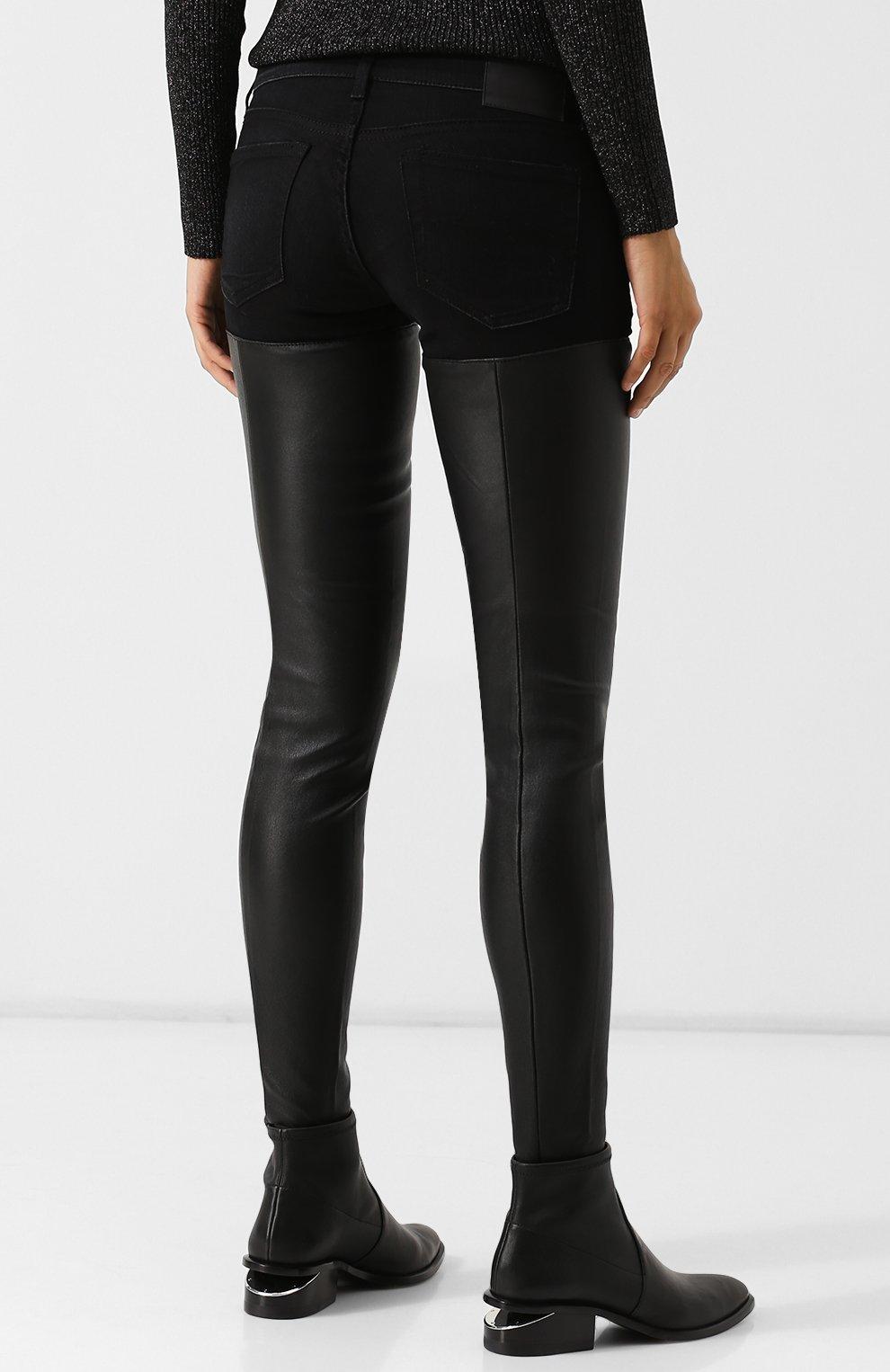 85020147718 Женские черные джинсы-скинни с кожаной вставкой R13 — купить за ...