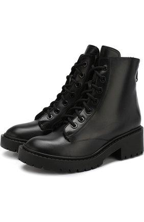 Кожаные ботинки Pike с внутренней отделкой из овчины Kenzo черные | Фото №1