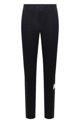Хлопковые брюки прямого кроя Thom Browne темно-синие | Фото №1