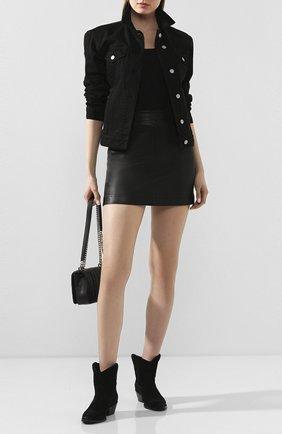 Женская кожаная мини-юбка HELMUT LANG черного цвета, арт. G09HW303 | Фото 2