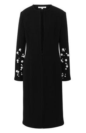 Шерстяное пальто с декоративной отделкой Oscar de la Renta черного цвета | Фото №1