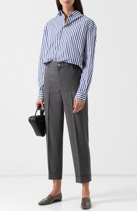 Женская блуза в полоску с накладным карманом Junya Watanabe, цвет белый, арт. JB-B006-051 в ЦУМ | Фото №1