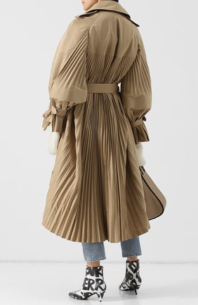 Двубортное хлопковое пальто в складку с поясом Junya Watanabe бежевого цвета | Фото №1