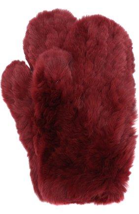 Варежки из меха кролика Yves Salomon бордовые | Фото №1