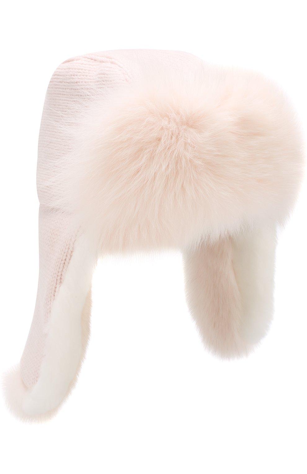 Шапка фактурной вязки с меховой отделкой   Фото №1