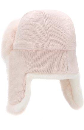 Шапка фактурной вязки с меховой отделкой Yves Salomon светло-розового цвета   Фото №2