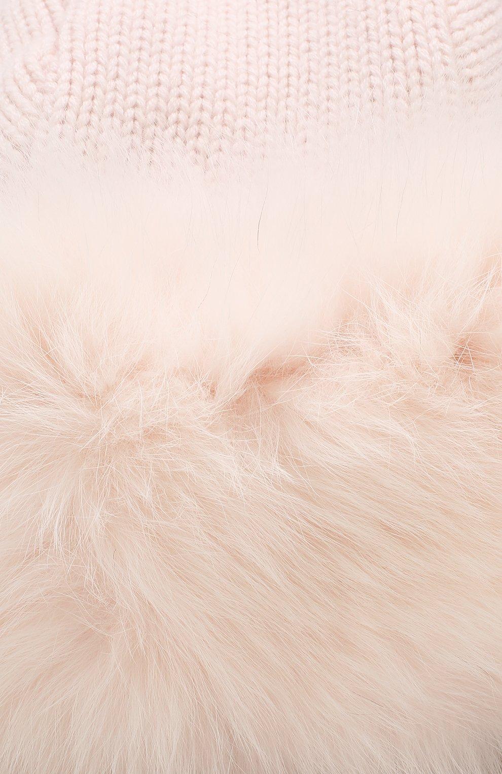 Шапка фактурной вязки с меховой отделкой Yves Salomon светло-розового цвета   Фото №3