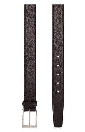 Кожаный ремень с металлической пряжкой Barrett бордовый | Фото №1