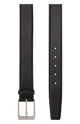 Кожаный ремень с металлической пряжкой Barrett черный | Фото №1