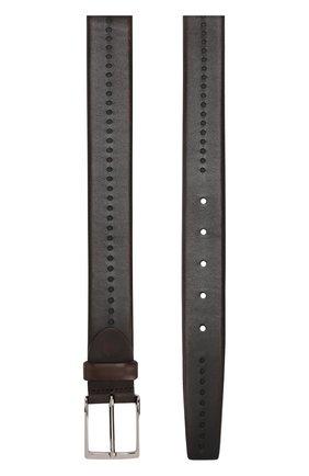 Кожаный ремень с перфорацией и металлической пряжкой Barrett темно-коричневый | Фото №1