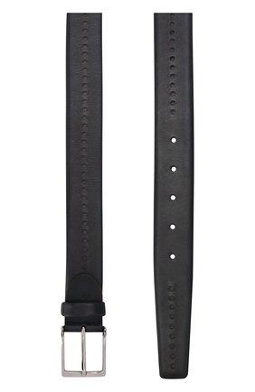 Кожаный ремень с перфорацией и металлической пряжкой Barrett темно-синий | Фото №1