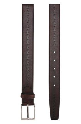 Кожаный ремень с перфорацией и металлической пряжкой Barrett бордовый | Фото №1