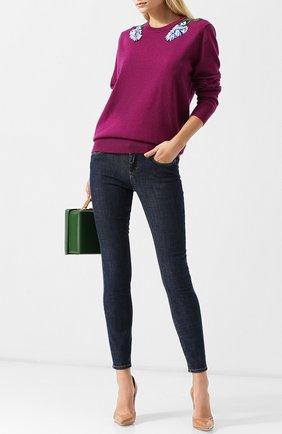 Женские джинсы с контрастной прострочкой  DOLCE & GABBANA темно-синего цвета, арт. FTAH7D/G981B | Фото 2