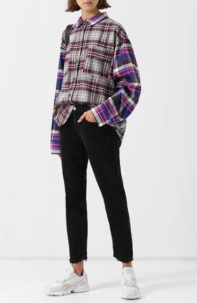 Женская хлопковая блуза в клетку с накладными карманами Natasha Zinko, цвет разноцветный, арт. PF18207-33 в ЦУМ   Фото №1