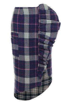 Шерстяная юбка асимметричного кроя с оборкой Natasha Zinko синяя   Фото №1