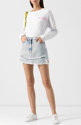Джинсовая мини-юбка с бахромой Natasha Zinko голубая   Фото №1