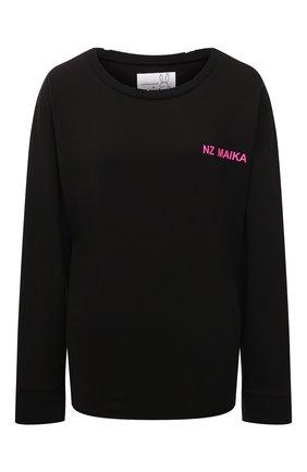 Хлопковый пуловер с круглым вырезом и надписью Natasha Zinko черный   Фото №1