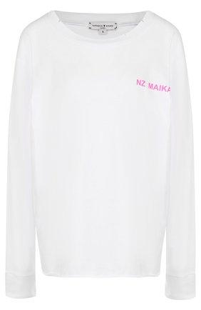 Хлопковый пуловер с круглым вырезом и надписью Natasha Zinko белый   Фото №1