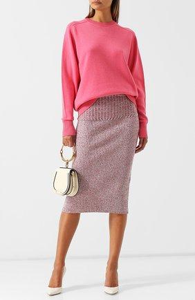 Однотонный кашемировый пуловер с круглым вырезом Victoria Beckham светло-розовый | Фото №1