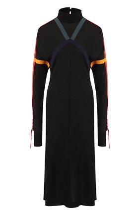 Платье-миди с контрастной отделкой и воротником-стойкой Burberry черное   Фото №1