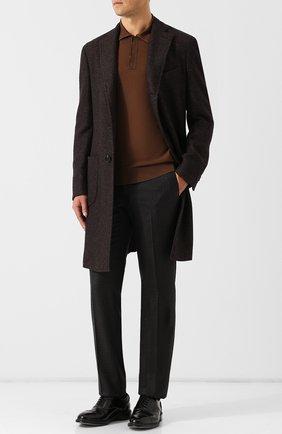 Шерстяное поло с длинными рукавами Zegna Couture светло-коричневое | Фото №1