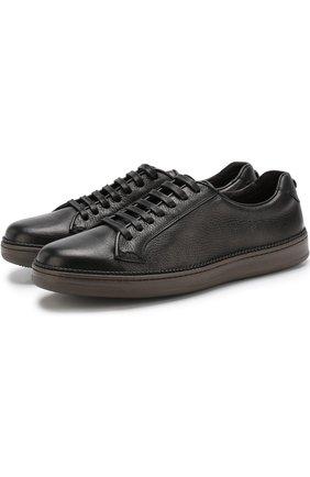Кожаные кеды на шнуровке Barrett черные | Фото №1