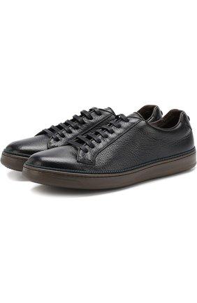 Кожаные кеды на шнуровке Barrett темно-синие | Фото №1