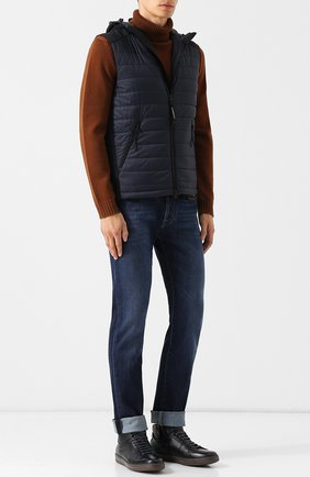 Высокие кожаные кеды с внутренней меховой отделкой Barrett темно-синие | Фото №1