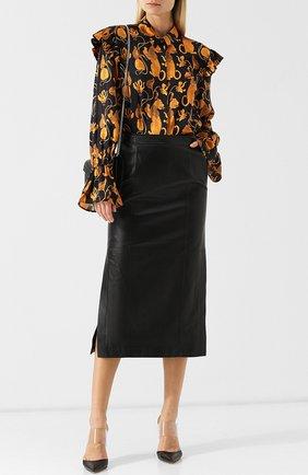 Женская шелковая блуза с оборками с принтом Mother Of Pearl, цвет золотой, арт. 3484 A MARIN в ЦУМ | Фото №1