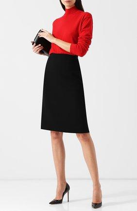 Однотонная юбка-миди из шерсти Oscar de la Renta черная | Фото №1