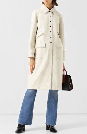 Пальто прямого кроя с накладными карманами Alexachung кремвого цвета   Фото №1