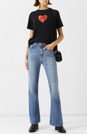 Расклешенные джинсы с потертостями Alexachung голубые   Фото №1