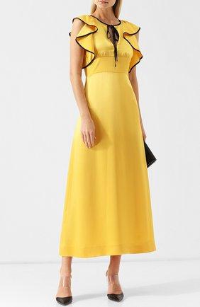 Приталенное платье-миди с оборками и контрастной отделкой Alexachung желтое   Фото №1