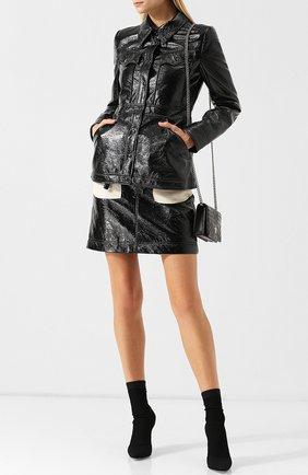 Приталенная куртка с карманами и отложным воротником Alexachung черная   Фото №1