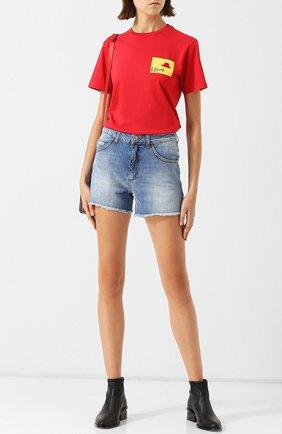 Хлопковая футболка с круглым вырезом и принтом Alexachung красная   Фото №1