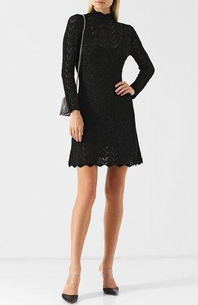 Вязаное мини-платье с воротником-стойкой Alexachung черное   Фото №1