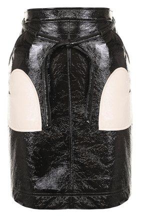 Мини-юбка со вставками в виде сердец Alexachung черная   Фото №1