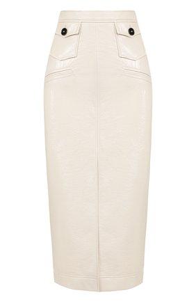 Однотонная юбка-миди с высоким разрезом Alexachung кремовая   Фото №1