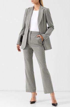 Расклешенные шерстяные брюки с отворотами Alexachung черно-белые   Фото №1