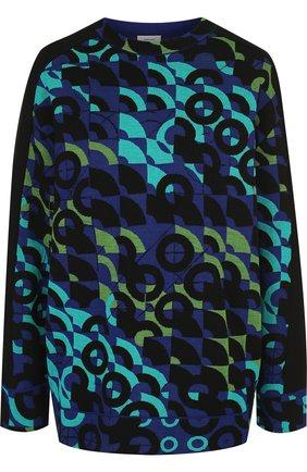 Пуловер из смеси хлопка и шерсти и контрастной вышивкой   Фото №1