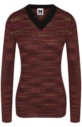 Вязаный пуловер с V-образным вырезом   Фото №1
