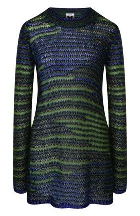 Удлиненный вязаный пуловер с круглым вырезом   Фото №1