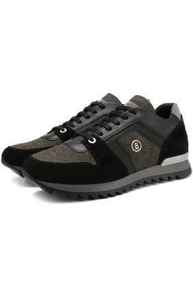 Комбинированные кроссовки на шнуровке Bogner зеленые | Фото №1