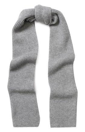 Кашемировый шарф фактурной вязки Johnstons Of Elgin светло-серый | Фото №1