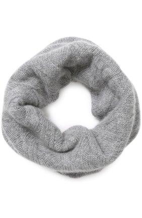 Кашемировый шарф-снуд фактурной вязки Johnstons Of Elgin светло-серый | Фото №1