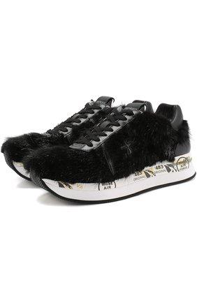 Кожаные кроссовки Conny с отделкой из меха норки | Фото №1