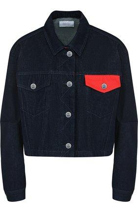 Джинсовая куртка с накладными карманами Current/Elliott синяя   Фото №1
