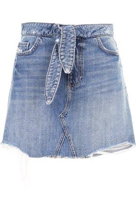 Джинсовая мини-юбка с потертостями и поясом Paige голубая | Фото №1