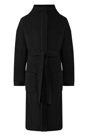 Однобортное кашемировое пальто с поясом   Фото №1